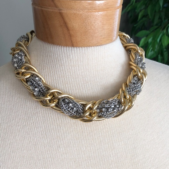 Banana Republic gold silver statement necklace